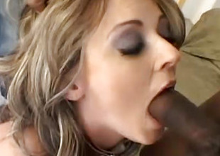 Black Males Feast On A Golden-haired Hottie Coarse DP Fuck