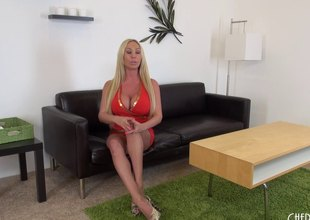 Mesmeric blond has a huge pink slit and is happy to expose it
