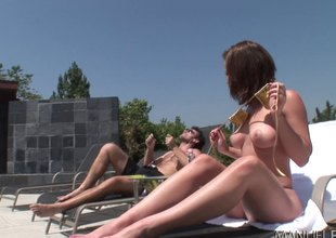 Brunette hair bitch gets ass fucked roughly and gets cum in her mouth