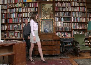 Nadia gives a steamy blow job in advance of getting dicked  rough in the library