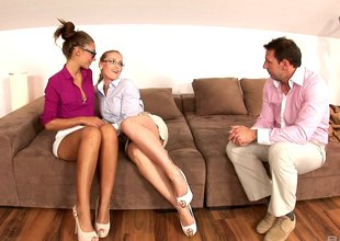 Handsome office administrator in a threesome FFM with her secretaries