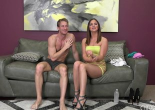 After a good fuck he pulls out and drains his balls on her tits