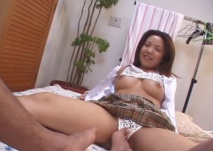Bombastic Japanese brunette hair and her session with the partner's dick