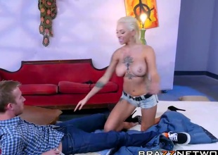 Busty Harlow Harrison loves to ride his biggest dick roughly