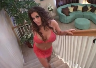 Large milf tits look perfect in lace underware before they bang