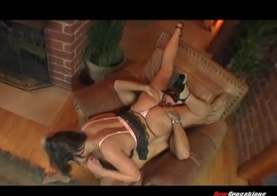 Big boobs brunette get thoroughly screwed on an armchair at the living room