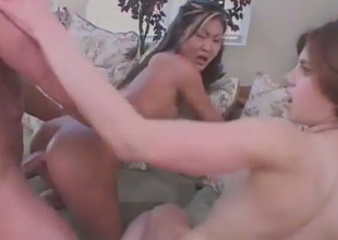 Two soaked pussies and a nice knob - consummate setting for a nice threesome