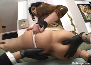 Blazing brunette receives her ass spanked whilst getting pounded in flaming bdsm fetish clip