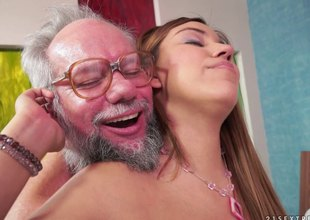 Karla lastly lets her experienced neighbor to penetrate her depths