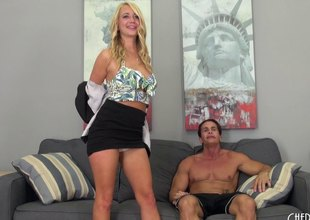 Crazy pretty blond is in the mood to fuck all day