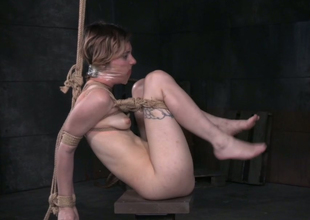 Pale perspired and flushing light haired chick gets fucked by black master