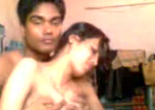 Horny dark skinned Hindu BF plays with suckable large boobies of his GF