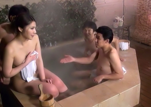 Hawt Japanese Av Model In Hardcore Mmmf Baths Outdoors