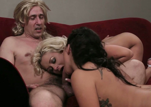 Voracious bitches with giant boobies fuck indecent in FFM threesome