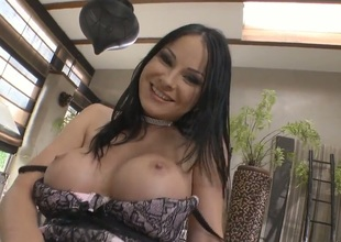 Abbie Cat with gigantic breasts is good at fucking and her hard dicked bang buddy Rocco Siffredi knows it