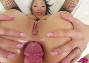 Anal gangbang for a sexy Asian