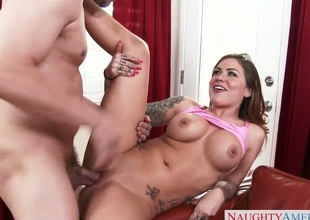 Mark Ashley pops out his fuck stick to fuck Karmen Karma with giant tits and shaved cunt