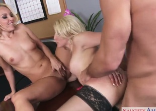 Johnny Castle shows nice sex tricks to Ashley Fires with the aid of his stiff love stick