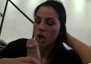 Meg Magic gets her many times used mouth stuffed another time by horny dude