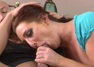 Slutty Savannah Fox gives blowjob to a horny man on the sofa in the middle of the room. Then bad girl takes off her top and shows her small tits. This tattooed sweetheart can't live without dick sucking