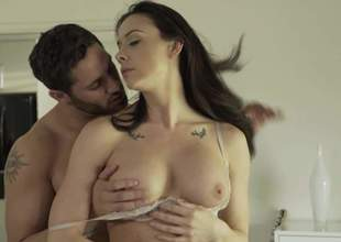 Wet brunette Chanel Preston with big natural tits acquires her meaty pussy licked and then fucked by her lascivious lover. She rides his dick with her boots on. See well-endowed Chanel Preston acquire banged