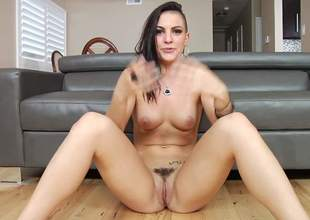 Tattooed brunette hair Rachael Madori is naked on the floor in behind the scenes. She puts her natural boobs and trimmed pussy on display. Bad girl just loves showing her slit again and again