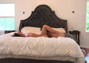 Kendall Karson and Manuel Ferrara have a good time fucking on the king size bed. Horny brunette with juicy boobs and sexy legs gets her pussy licked and banged in the comfort of the bedroom