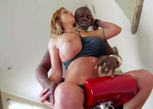 Busty woman Eva Notty plays with her juggs and shakes her big a-hole in front of Lexington Steele. Then they get interracial sex session started. Big titted Eva Notty is fuck hungry