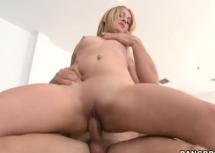 Golden-haired Sky with big ass is good on her way to make horny fellow shoot his cum on oral action