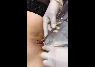 Piercing her pussylips