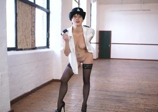 Sexy British lady cop gives naughty JOI