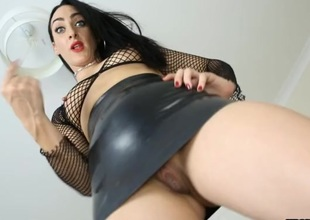 Look up her tight leather skirt from the floor