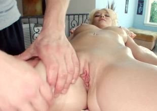 Blonde-haired angel receives massage, fucking, and cumshot