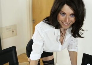Slutty skirt and an unbuttoned blouse on a secretary