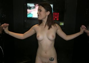 Brunette is pulling a big shlong inside a glory gap in the dark room