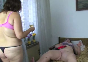 Corpulent mature women and fat granny masturbate with a toy