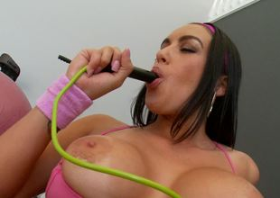 A hot bitch with big tits is teasing her wet pussy lips today