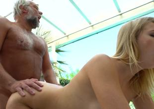 Blonde is with an old dude that loves juvenile pussy lips